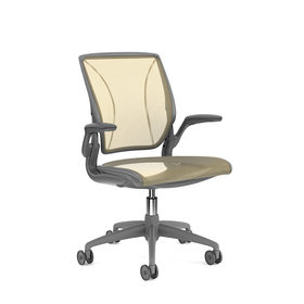 Pinstripe Mesh Yellow World Task Chair, Fixed Arms, Gray Frame